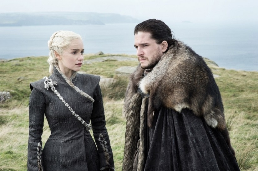 Dany and Jon trade meaningful stares. Still from Game of Thrones season 7 episode 5: Eastwatch. Image via HBO