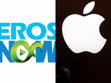 Logos of Eros Now and Apple. Images from Twitter.
