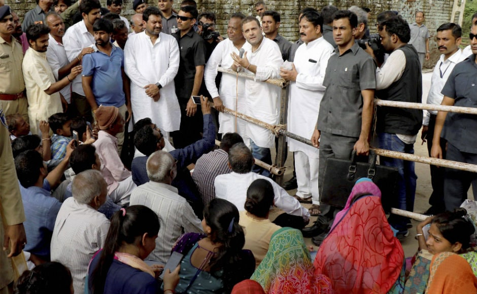 Gandhi also interacted with the party workers about the ongoing relief work being carried out by the party in the region. He was accompanied by party's Rajya Sabha nominee Ahmed Patel, state president Bharatsinh Solanki and party in-charge for Gujarat Ashok Gehlot. PTI