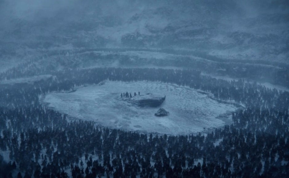 But are quickly surrounded by wights and white walkers. Image via HBO