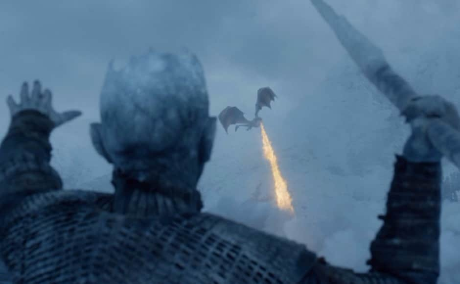 The Night King decides the dragons have wreaked enough damage, takes his icy javelin, and hurls it at Viserion's breast, felling the poor beast. Image via HBO