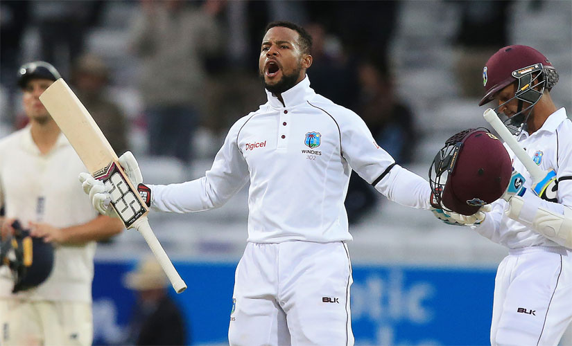 Shai Hope exults after taking West Indies to an improbable win in the second Test against England at Headingley. AFP
