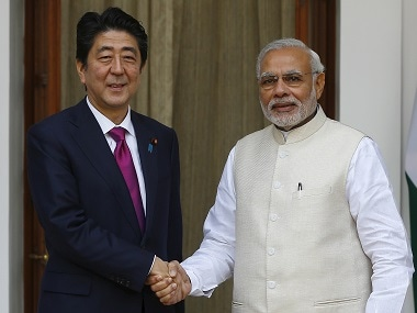 Shinzo Abe with Narendra Modi. Reuters