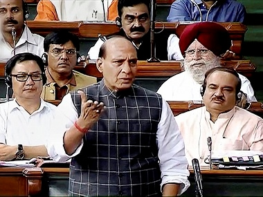 Rajnath Singh responding to Congress in Lok Sabha. PTI