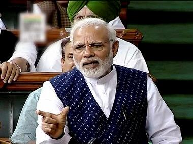 Prime Minister Narendra Modi in Lok Sabha. PTI