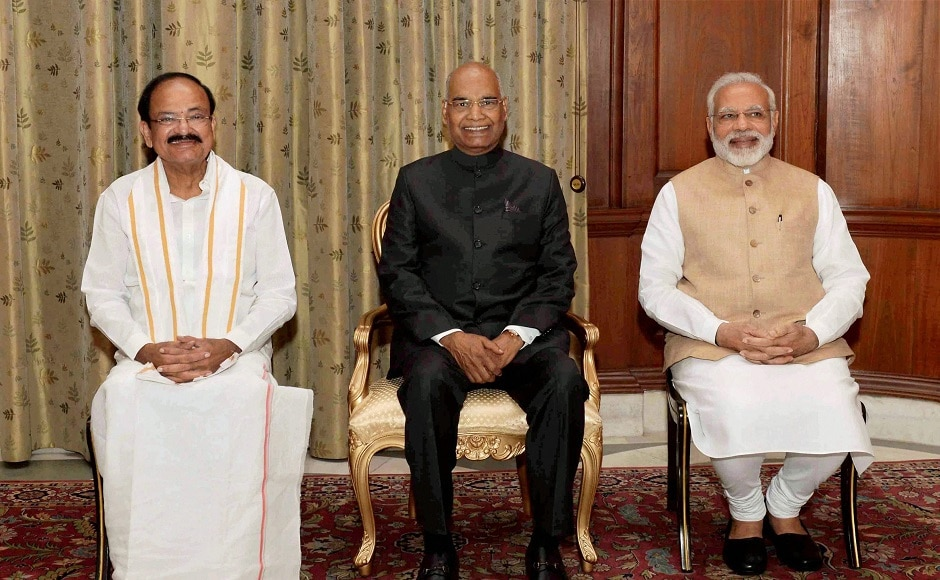M Venkaiah Naidu on Friday took oath as the new Vice President at a simple ceremony in Rashtrapati Bhavan's Durbar Hall. PTI