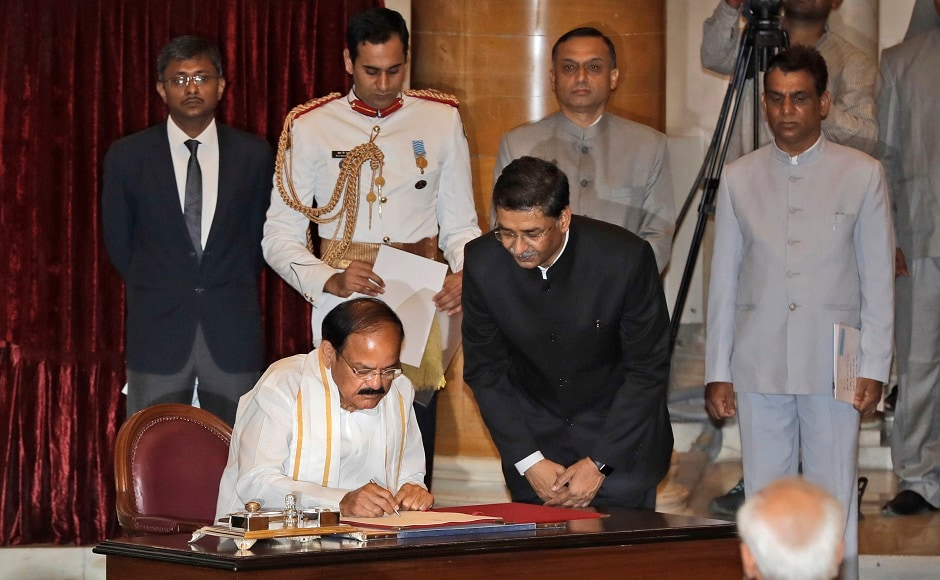 Nominated by the ruling BJP-led National Democratic Alliance, Naidu won the 5 August poll defeating former West Bengal Governor and Mahatma Gandhi's grandson Gopalkrishna Gandhi. AP