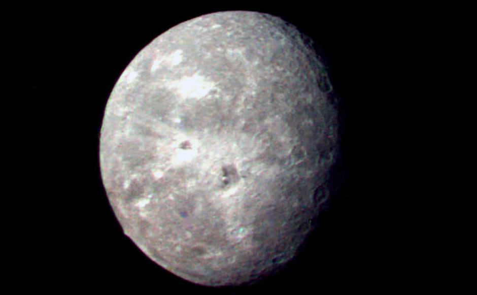 Oberon, one of the moons of Uranus. Image: NASA.