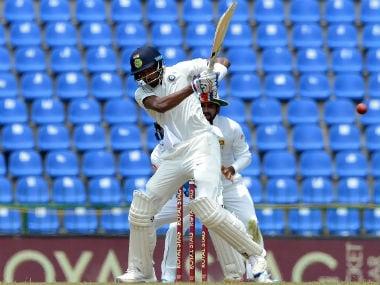 Hardik Pandya plays a shot during Day 2 of the 3rd Test against Sri Lanka at Pallekele. AFP