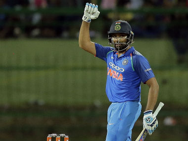 India's Rohit Sharma celebrates his century during the 3rd ODI against Sri Lanka in Pallekele. AP