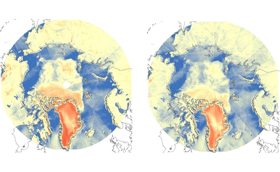 The Arctic circle imaged by the ScatSat-1. Image: ISRO