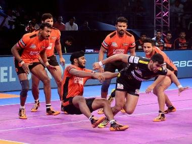 File Image from a match between U Mumba and Telugu Titans. Twitter @U_Mumba