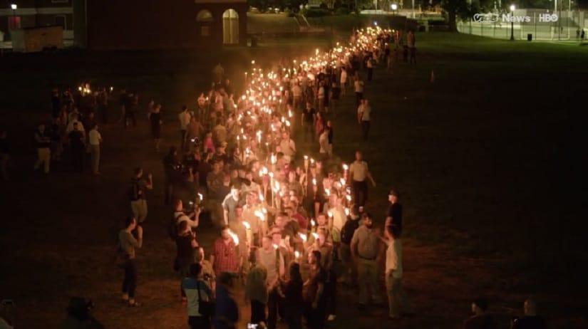 Unite the Right demonstrators. Image via VICE News/HBO