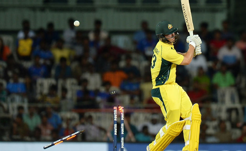 Australia'sHilton Cartwright didn't have the best of the starts to One Day international cricket as he was castled by Jasprit Bumrah for 1 . AFP