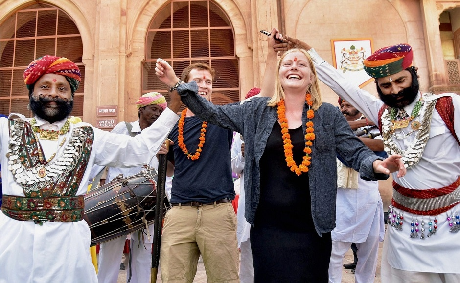 27 September marks World Tourism Day, an annual event organised by the United Nations World Tourism Organization (UNWTO), aimed at underscoring the social, cultural, political and economic value of international tourism. On the occasion, some Rajasthani folk artists entertain foreign tourists at Junagarh Fort. PTI