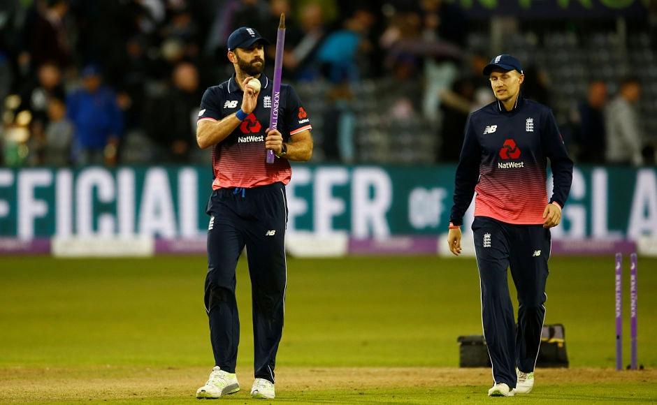 England's Liam Plunkett celebrates winning the match with Joe Root. Reuters