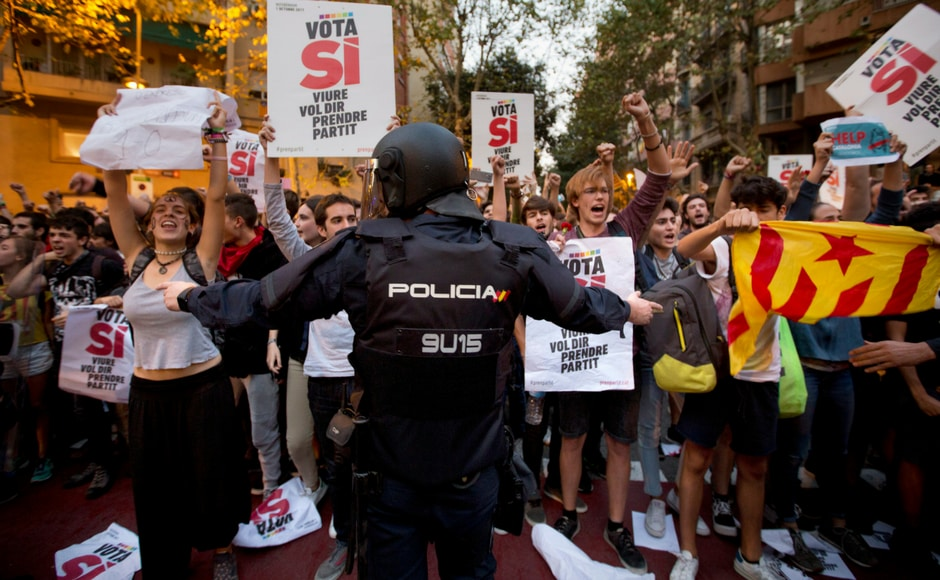 Thousands of protesters gathered on Thursday in Barcelona to demand the release of a dozen officials arrested in connection with the independence vote for Catalonia. AP