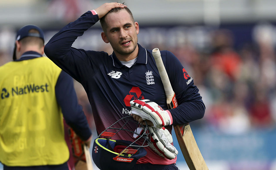 West Indies won the toss and decided to field. Here, Alex Hales is dismissed with the score at 73 after Jonny Bairstow fell for 13. AP