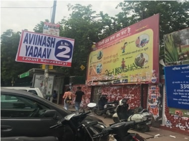 ABVP. Posters and hoardings put up outside Delhi University's North Campus ahead of the student body elections. Firstpost/Pallavi R