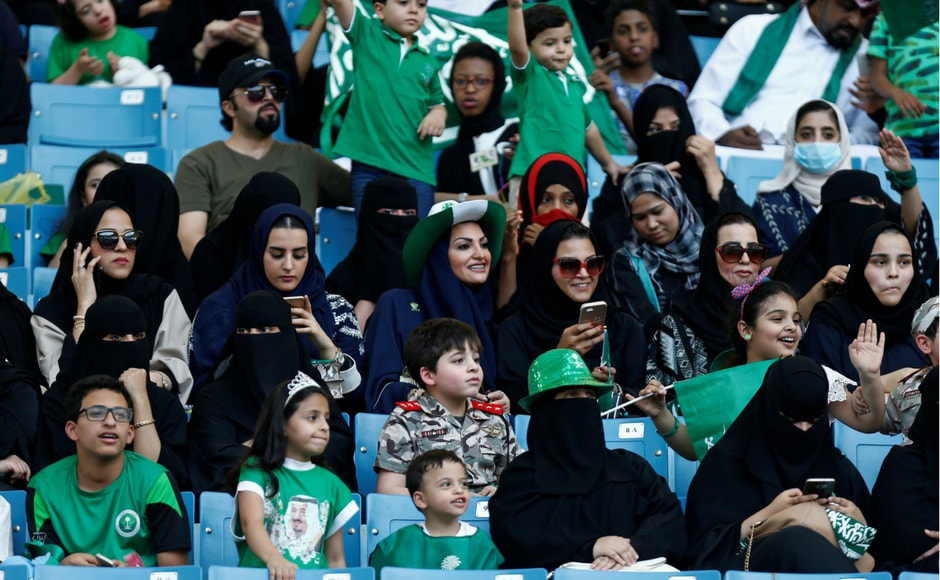 In a historic reform, women were allowed for the first time to enter the national stadium to join in the celebrations. Reuters