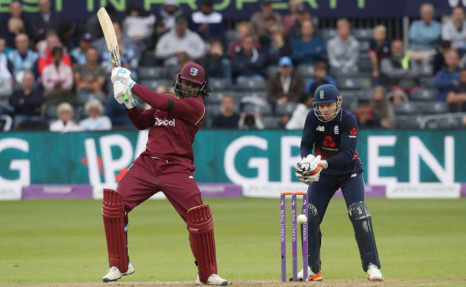 Chris Gayle tried his best to give West Indies a chance of chasing the target of 370. AP
