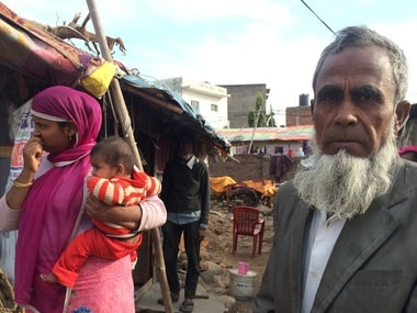 A Rohingya Muslim and his family in Jammu. Image Courtesy: Safeena Wani