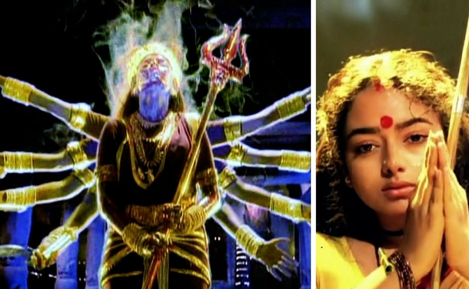 In the 1995 Telugu film Ammoru, Ramya Krishnan was seen in the role of the divine goddess Ammoru, who manifests inthe mortal world to protect her devotee Bhavani (played by Soundarya) from the evil clutches of Gorakh (Rami Reddy). Amythological fiction tale shot in trademark Tollywood style, Ammoru was a path-breaking film during the '90s. Image courtesy: Facebook.
