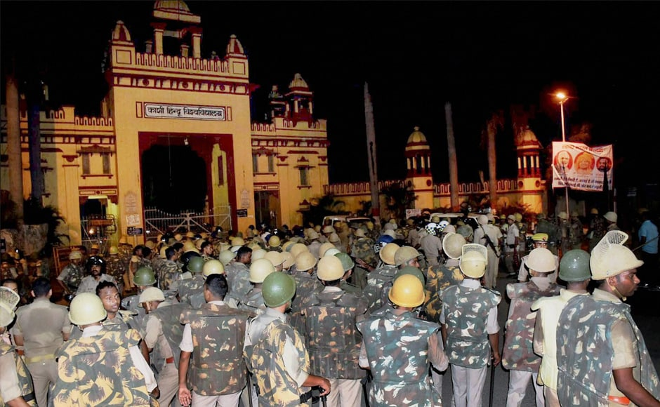 Police and paramilitary personnel were deployed to control the protests which erupted against the administration's alleged victim-shaming after one of them reported an incident of molestation on Thursday. Yogi Adityanath ordered an inquiry into the violence on Saturday night. PTI