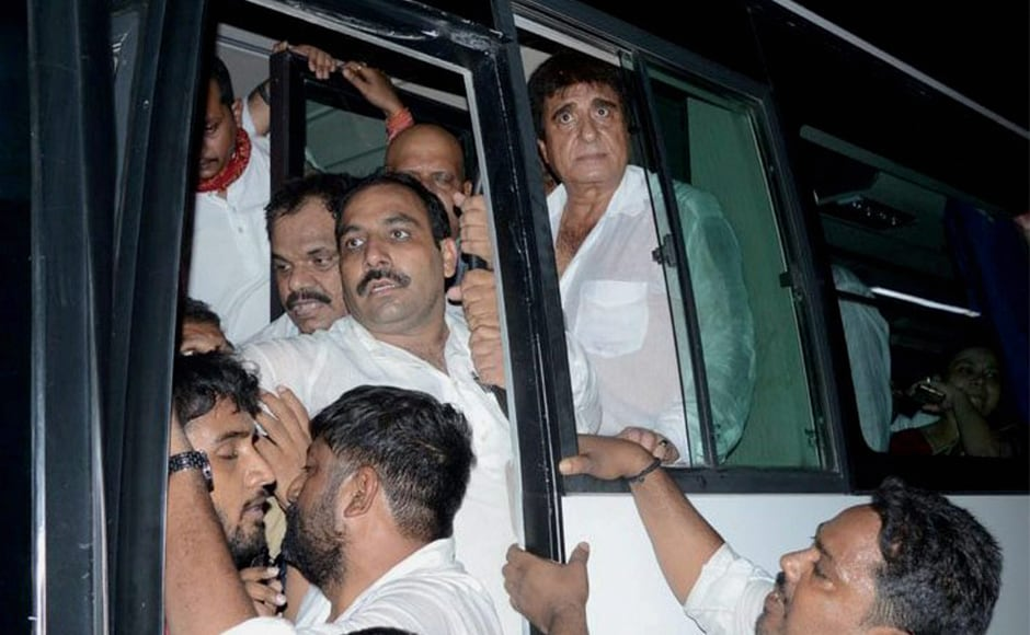 Uttar Pradesh Congress president Raj Babbar and other leaders were detained after they held a protest in support of BHU students in Varanasi on Sunday. PTI