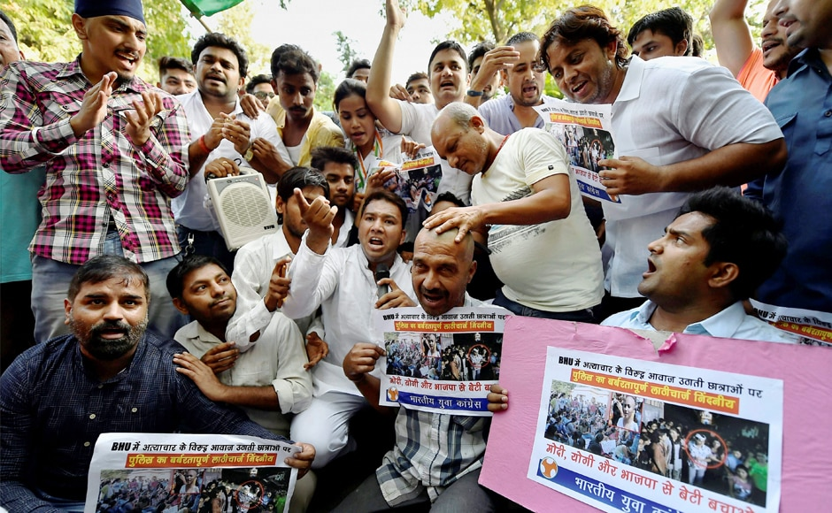 Indian Youth Congress activists also held a protest against the violence with female students in BHU,in New Delhi on Sunday. PTI