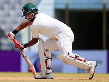 Bangladesh's Tamim Iqbal plays a shot during the first day of the second test cricket match against Australia in Chittagong, Bangladesh, Monday, Sept. 4, 2017. (AP Photo/A.M. Ahad)