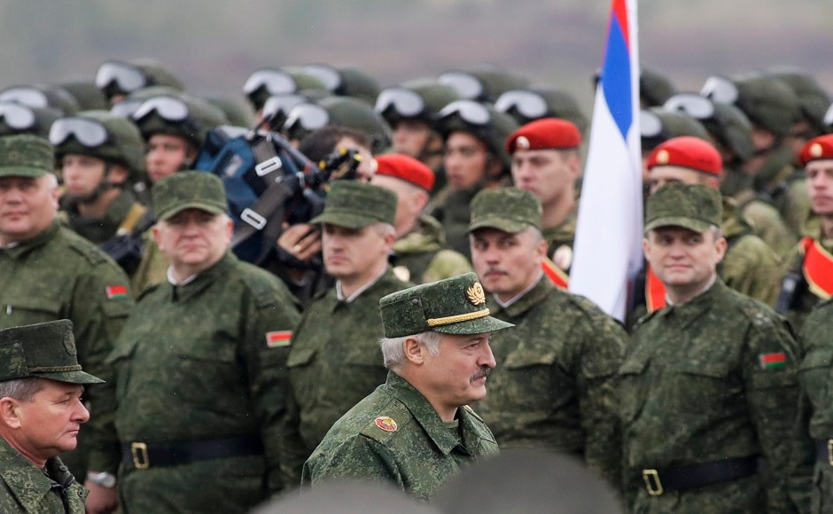 Belarus' president Alexander Lukashenko inspects the troops as they prepare for the joint Russia-Belarus military exercises at the Borisovsky range in Borisov on Wednesday. AP