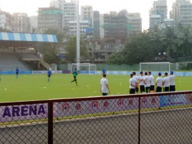 Members of the Brazil U-17 team's support staff during a training session at the Mumbai Football Arena on Tuesday.