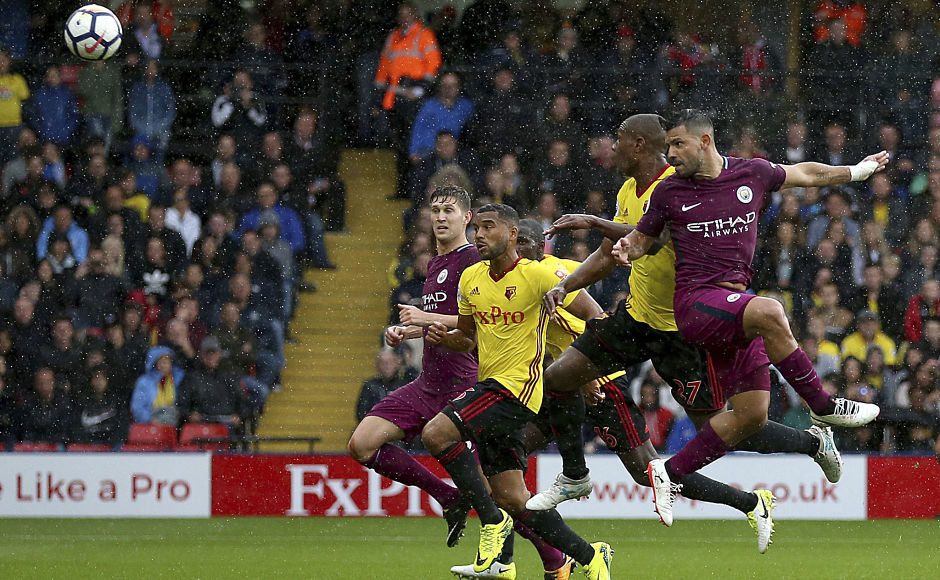 Aguero opened the scoring for Manchester City with a header off Kevin De Bruyne's free kick. AP