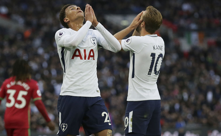 Dele Alli and Harry Kane missed a host of chances as Tottenham Hotspur were held to a frustrating draw by Swansea. Spurs are yet to win a Premier League match at the Wembley having drawn twice and Lost once at their temporary home. AP