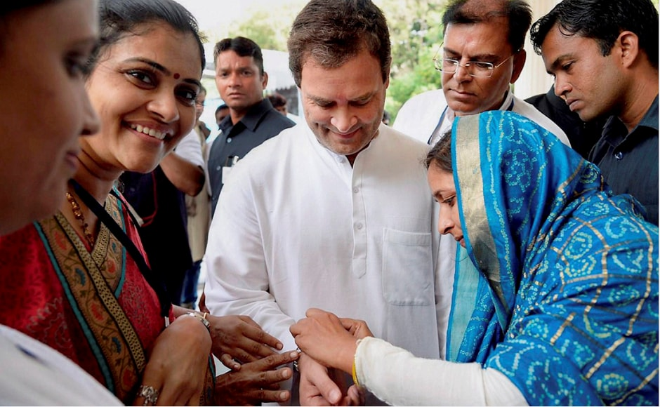 Locals treated Gandhi with tea served in traditional chaliyu (kind of bowl) in Hanjrapar while some women also tied rakhis to him. PTI