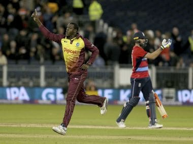 Carlos Brathwaite starred for West Indies in their win over England in the one-off T20I. AFP
