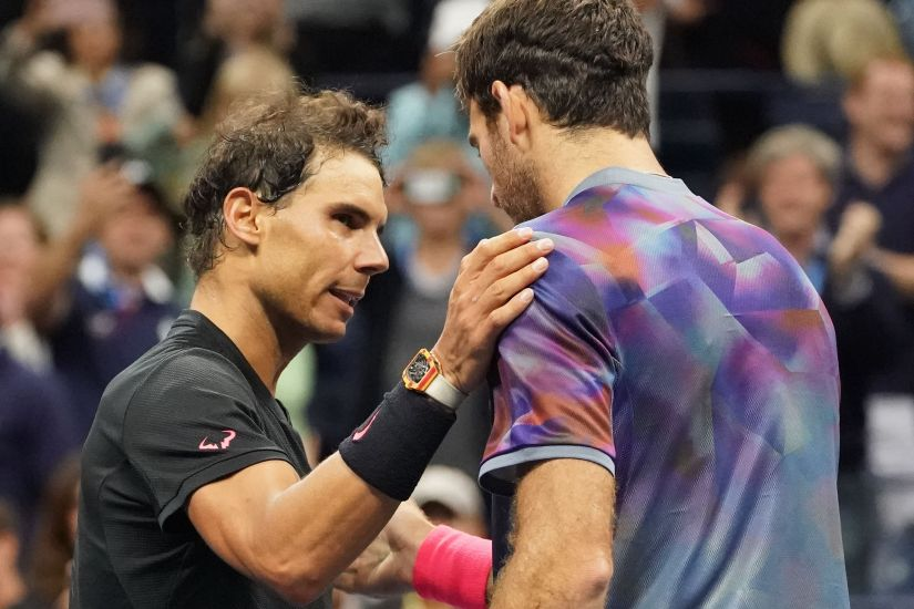 Sept 8, 2017; New York, NY, USA; Rafael Nadal of Spain and Juan Martin del Potro of Argentina after their match in Ashe Stadium at the USTA Billie Jean King National Tennis Center. Mandatory Credit: Robert Deutsch-USA TODAY Sports - 10266137