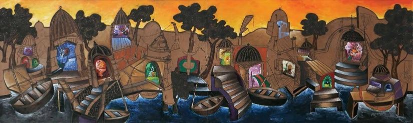 EVENING AT BANARAS ' acrylic on board 2005