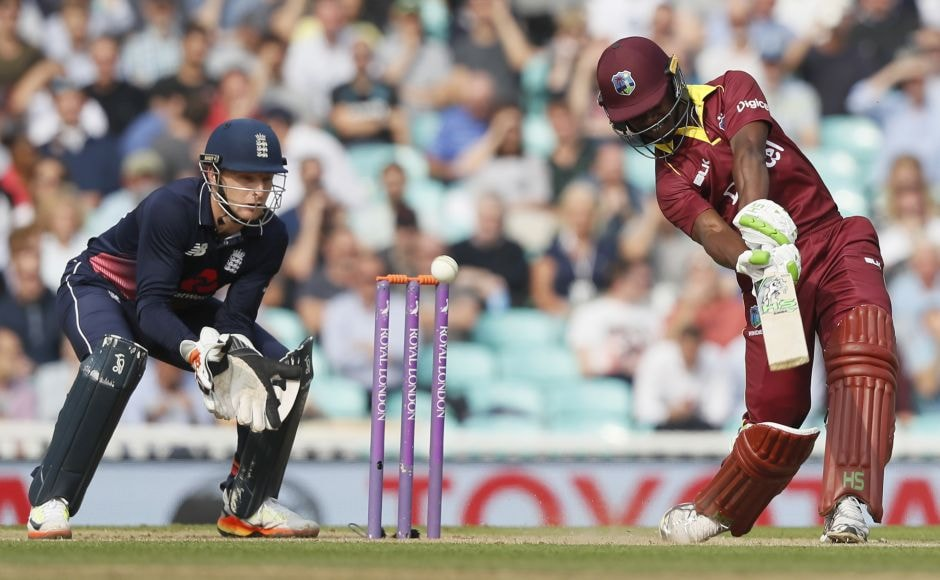 Jason Mohammed plays a shot off the bowling of England's Moeen Alien route to his 46 in the fourth ODI. AP
