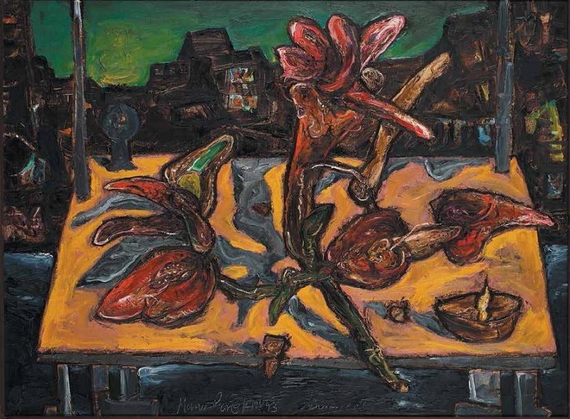 Flower vase in landscape by Manu Parekh