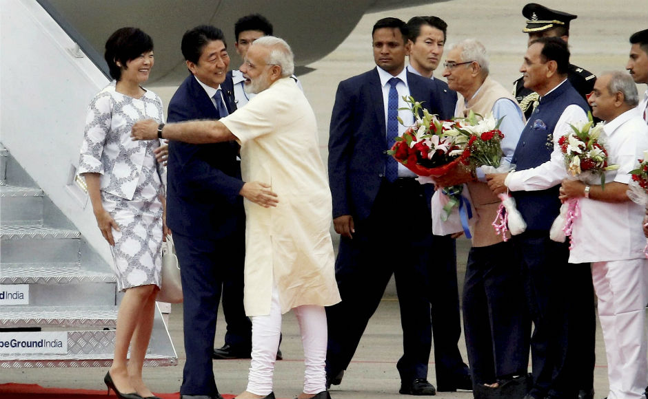 Prime Minister of Japan Shinzo Abe arrived on a two-day visit to India on Wednesday and was received by Prime Minister Narendra Modi at the Ahmedabad airport. PTI