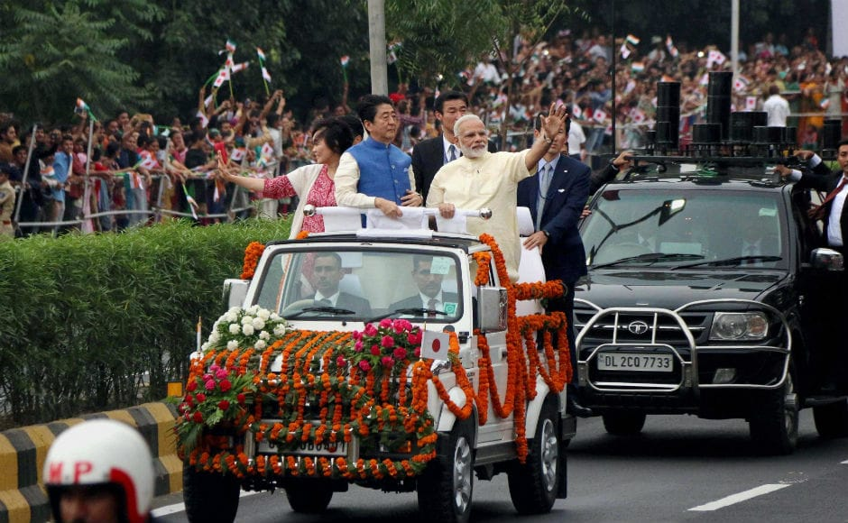 Immediately after the welcome ceremony, Abe, his wife, and Modi set-off on an eight kilometer roadshow for Sabarmati Ashram. This is the first time that Modi has held a joint road show with a visiting head of government of a foreign country. PTI