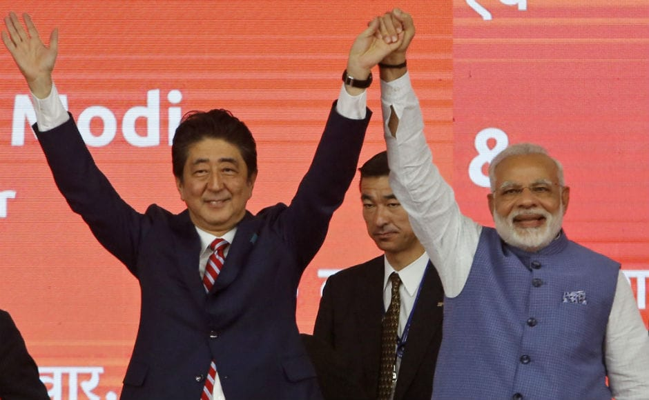 Shinzo Abe — emphasing on the India-Japan relationship— said that if we combine 'Ja' from 'Japan' and 'I' from India, the word we get is 'JAI'. He also called Modi a global and far-sighted leader. AP