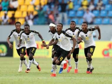 Ghana players celebrate after sealing qualification to the U-17 World Cup. Image courtesy: ghanafa.org