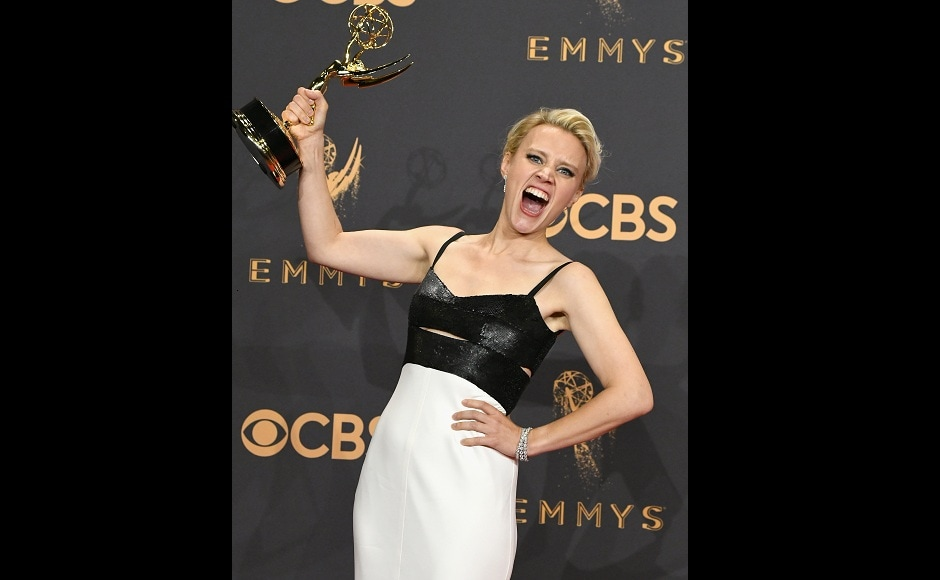 Kate McKinnon, was spotted in high spirits after winning the Outstanding Supporting Actress in a Comedy Series award for Saturday Night Live. Image from Getty Images.