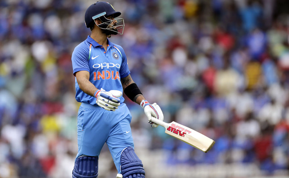 Indian captain Virat Kohli was sent back to pavilion for a rare duck when he was caught brilliantlyat point by Glenn Maxwell. AP