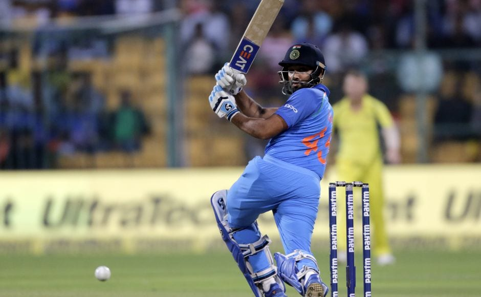 India began their reply on a positive note as Ajinkya Rahane (53 off 58 balls) and Rohit Sharma (65 off 42 balls) put on 106 runs for the opening wicket. AP
