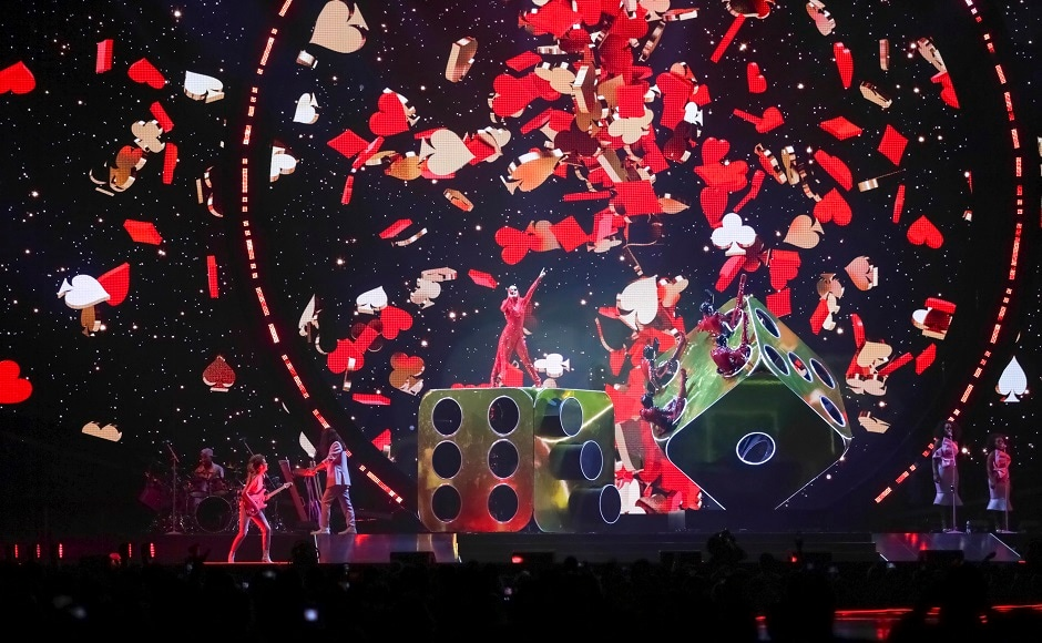 Katy Perry performs on stage at the Capitol One Arena. Image from AP