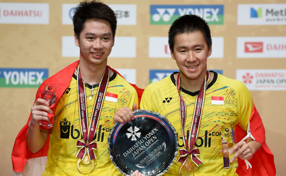 Indonesia's Kevin Sanjaya Sukamuljo (L) and Marcus Feraidi Gideon (R) claimed their fourth Superseries title of 2017 after a straight-game win over Japan's Takuto Inoue and Yuki Kaneko in the men's doubles final. AFP